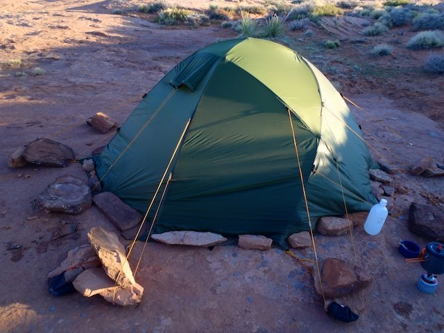 My old Haglöfs Genius 21 dome tent. Great shelter. Spacious. Sturdy. Weighs 4kg/8.8lbs. That's 1kg  over  the 3 for 3 concept, and I still haven't added in the sleeping bag and pack.
