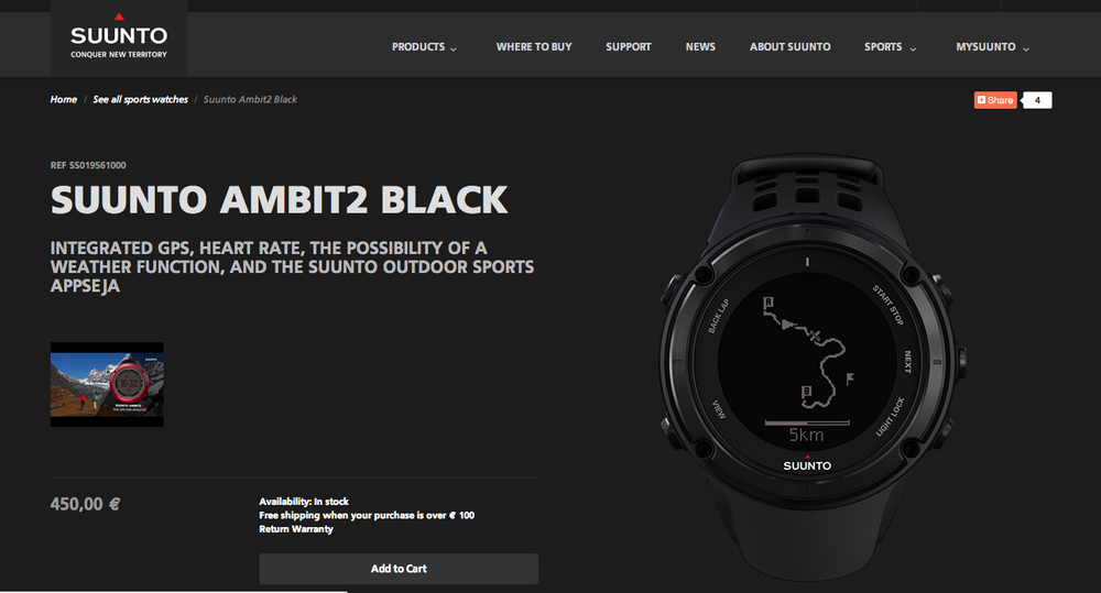 The main page of Suunto's marketing site for the Ambit2. Actually finding a screen on the watch that looks like that proves to be surprisingly difficult.