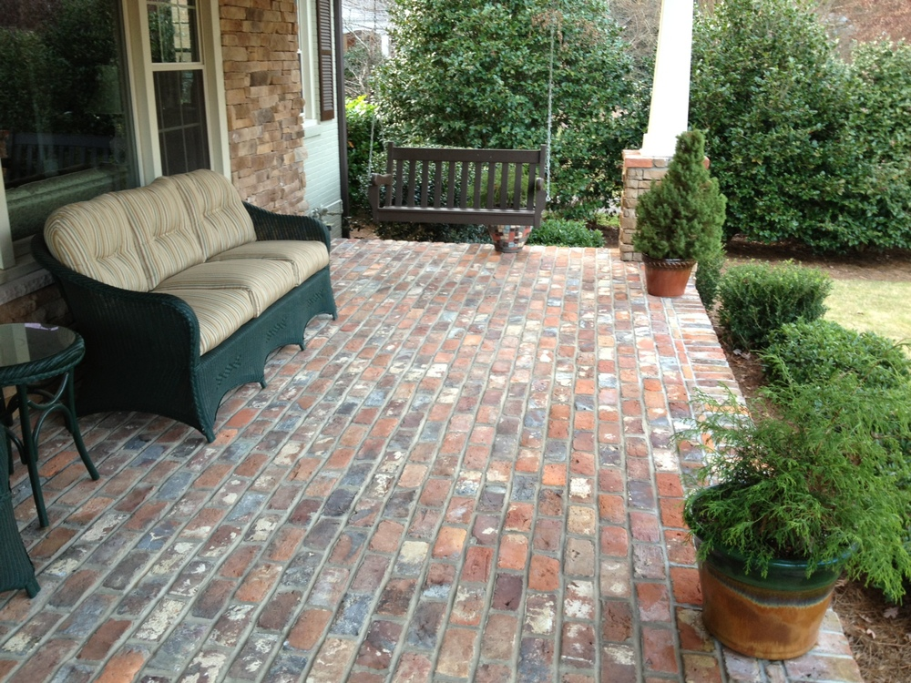 Reclaimed brick porch