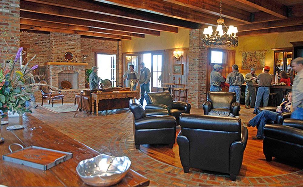 Reclaimed beams and brick flooring