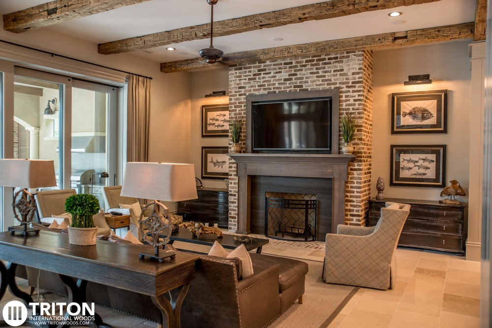Custom Mantel and TV Enclosure Handcrafted by Triton, also Reclaimed Hand Hewn Ceiling Beams