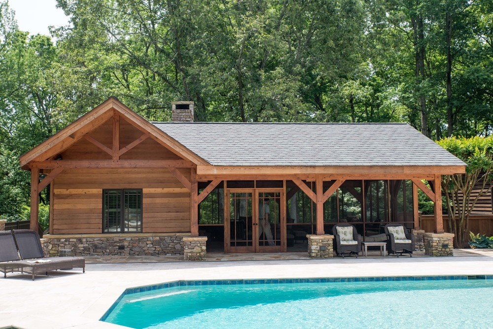 Heavy Timber Pool House designed and installed by Triton