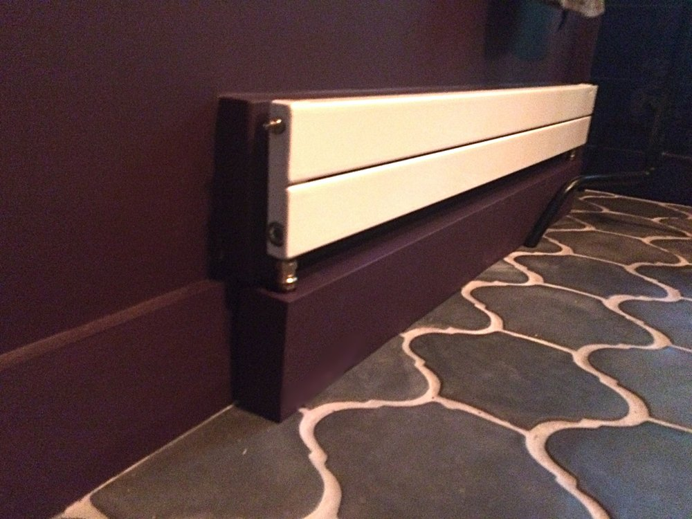 A tricky detail: custom radiator solution. Forgive the phone photo quality