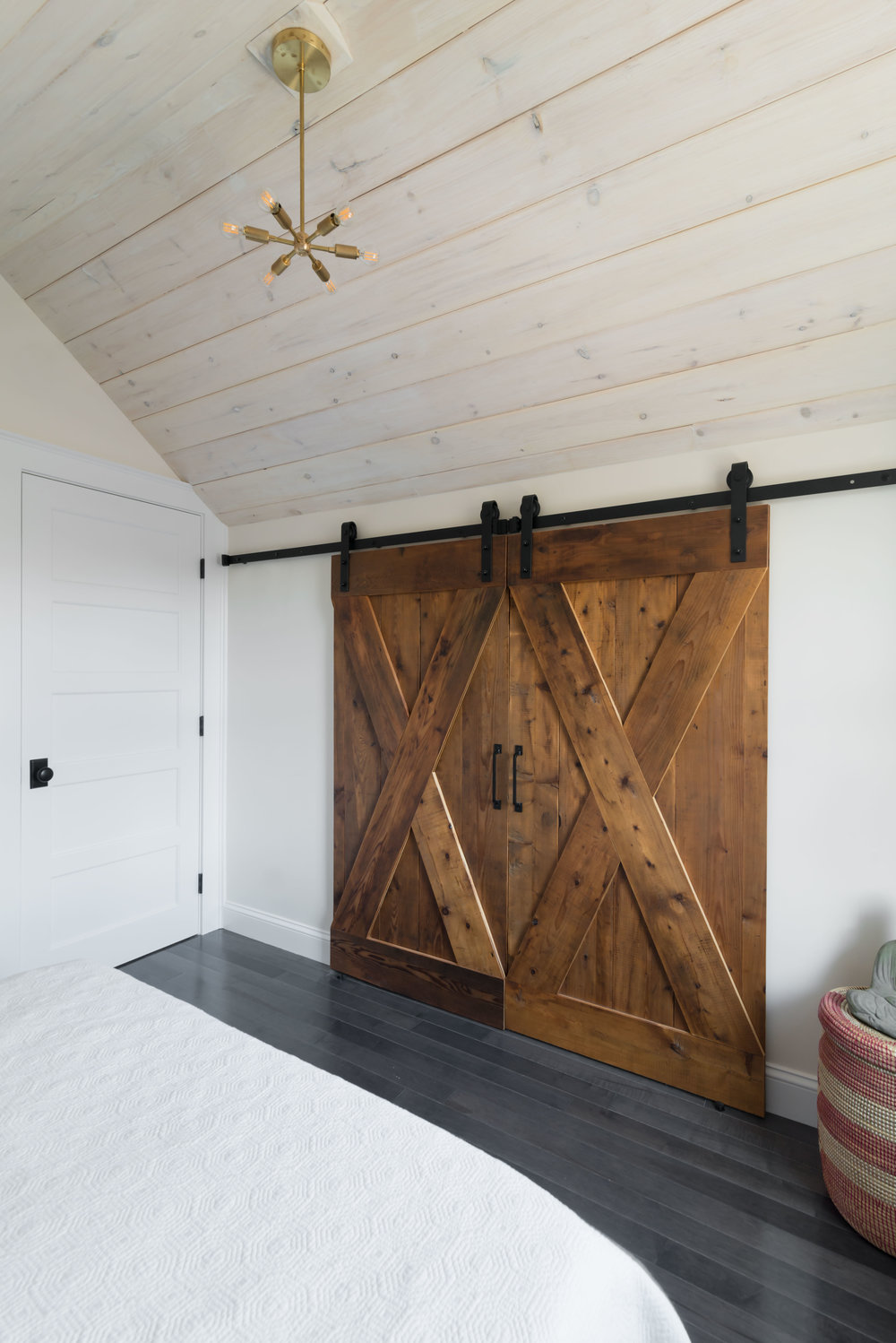 Custom barn doors, formerly attic floorboards