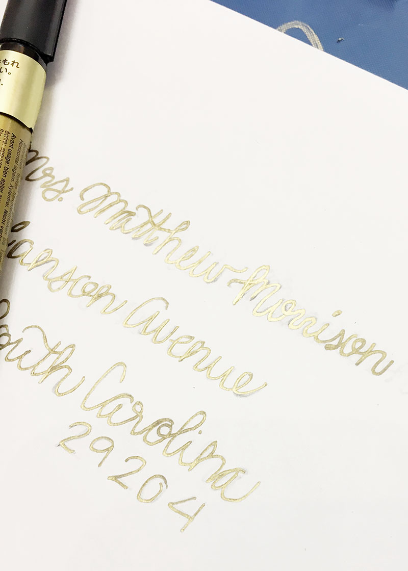 wedding calligraphy, gold place cards, gold calligraphy, columbia, sc, lexington, sc, south carolina_feb 10.JPG