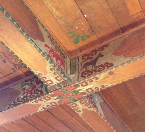 Ceiling detail at Lake Quinault lodge. Throughout the park the names and, often, the design motifs of the native Americans tribes have been preserved and celebrated.