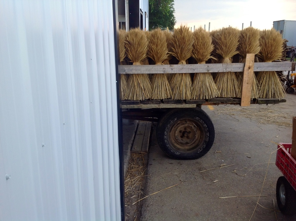 handmade wheat sheaves about to enter our packaging process