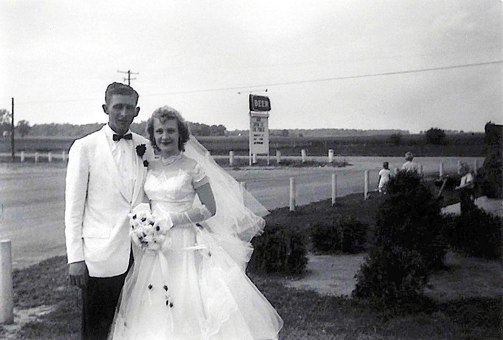 Bill and Joyce (Woydziak) Luthman, my grandparents, on their wedding day, August 11th, 1956.