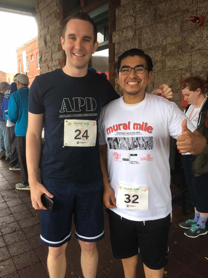 Deluxe Depot Diner General Manager Larry Rodkey and Manager Andres Alvarado are pumped to run the Mural Mile Road Race.  Larry earned third place for men in the race!