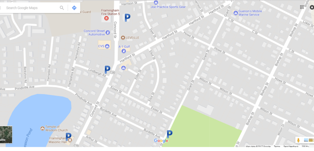 Parking  - - On-street - Masonic Hall                               (404 Concord Street)- George's Service Station            (472 Concord Street)- Braces Place                              (509 Concord Street)- Corner Cabinet                           (541 Concord Street)