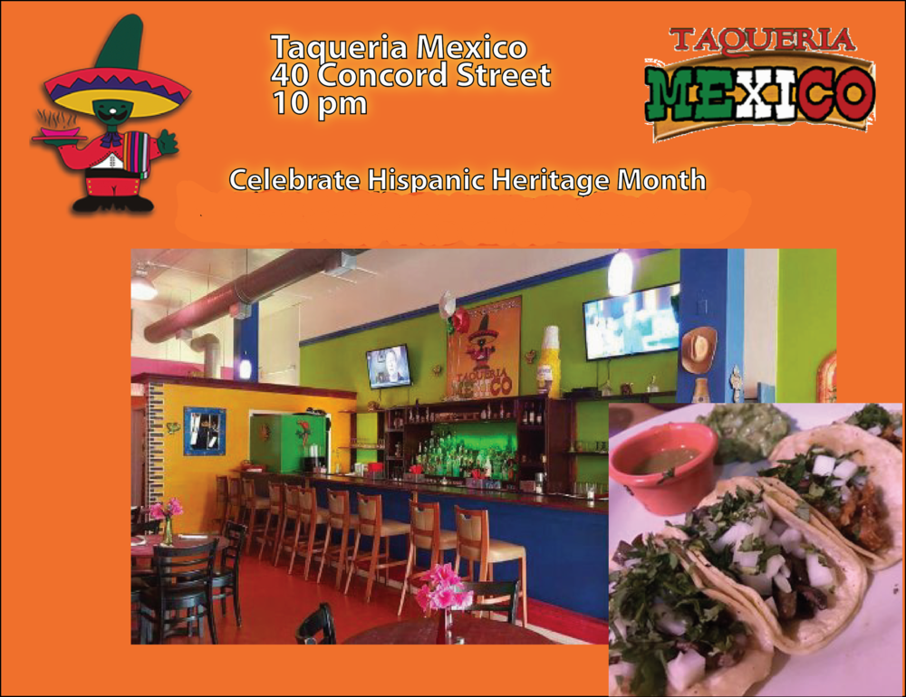 Taqueria Mexico - 40 Concord StreetDiscount:  free appetizer when you spend $30.00 on food (excludes purchase of alcoholic beverages)!Parking Directions                            Heading South on Rt 126: Right on Park Street, Left on Franklin Street, Left into Howard/Concord Streets Lot  Heading North on Rt 126: Right on Howard Street, Left into Howard/Concord Streets Lot