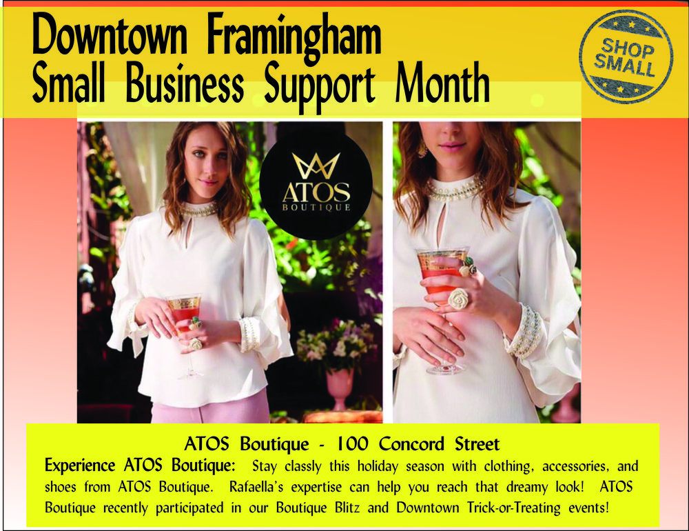 "The Small Business Support Month continues! Reason #15 to shop small:  ""Local stores develop customer trust and enable you to try on and try out items before you buy — and get real expertise — saving your time and money."" This is so evident at  Atos Boutique , located at 100 Concord Street.  Content Source:  https://www.amiba.net/resources/localhero/"