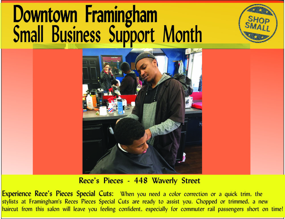 "It's Day 24 of Small Business Support Month!  Reason #24: ENCOURAGE LOCAL PROSPERITY!  "" A growing body of economic research shows that in an increasingly homogenized world, entrepreneurs and skilled workers are more likely to invest and settle in communities that preserve their one-of-a-kind businesses and distinctive character.""     Rece's Pieces is extremely distinctive.  This is the only African-American owned barbershop in Framingham, and it offers international styles!  Stop by and say hello to Trevor!"
