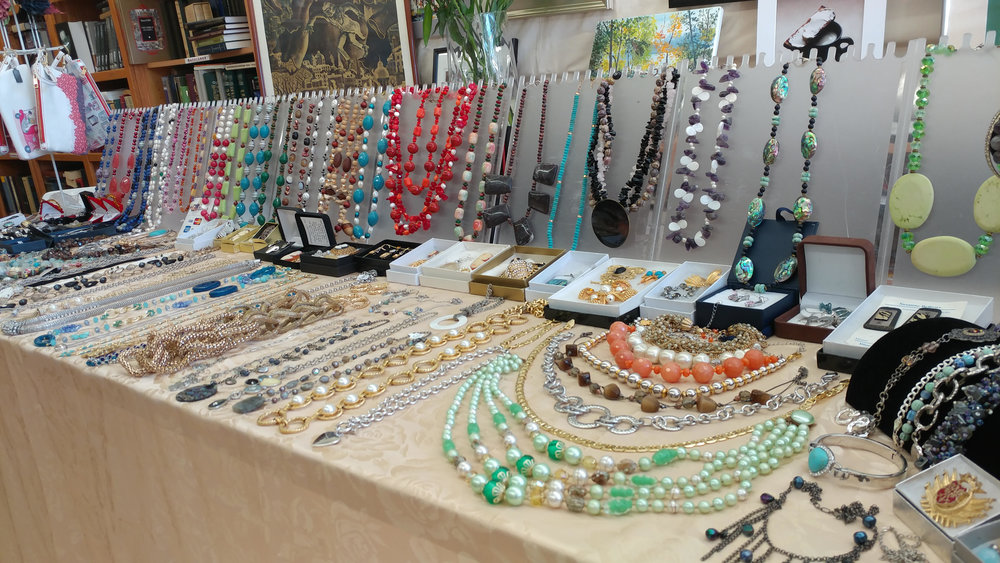 Jewelinga Designs - You're in store for jewelry made out of semi-precious stones and sterling silver, hat pieces, hand-made leather roses, and wristlets/wallets.  Stop by to say hello to Inga!> Pair it with Suspended Animation