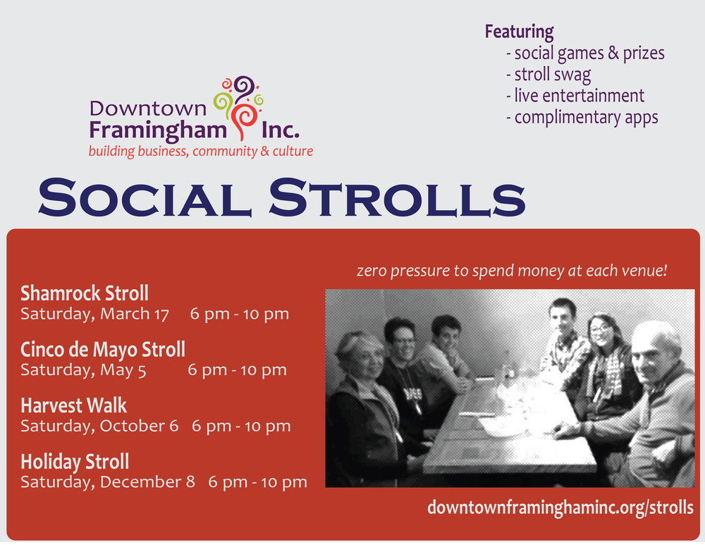 Social Strolls - Build community and get immersed in our massive cultural scene, including art galleries, flavorful foods, live music, great personalities, and more! See more here!