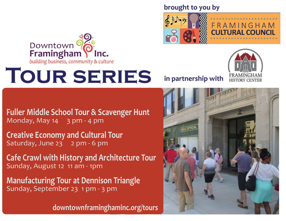 Tour Series - The Cafe Crawl with history & architecture tour has been re-scheduled for August 26! Get tickets here: https://www.downtownframinghaminc.org/cafecrawldowntownframinghaminc.org/tours
