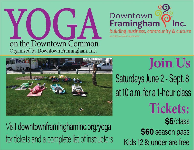 YOGA on the Downtown Common - Reward yourself with this 60-minute soul-nourishing session in our premier urban green space! Parking along Park Street.