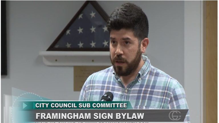 DFI Intern Bobby Mitchell describes feedback from small businesses in the Central Business District on Framingham's Sign Bylaw