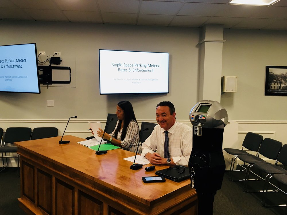 A proposed meter was exhibited at the August 28 Traffic Commission meeting