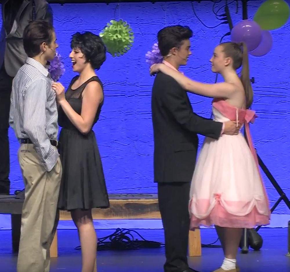 Tyler Moscaritola, Hannah Bonnett, Justin Lopez and Emily Brown in Grease