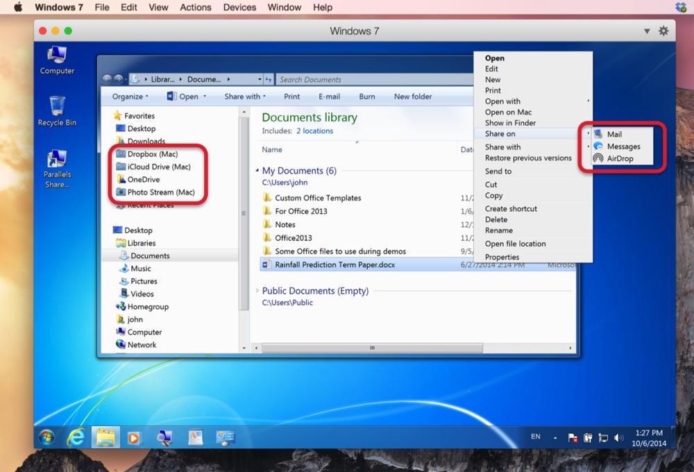 Figure 3:Yosemite cloud services available inside Windows