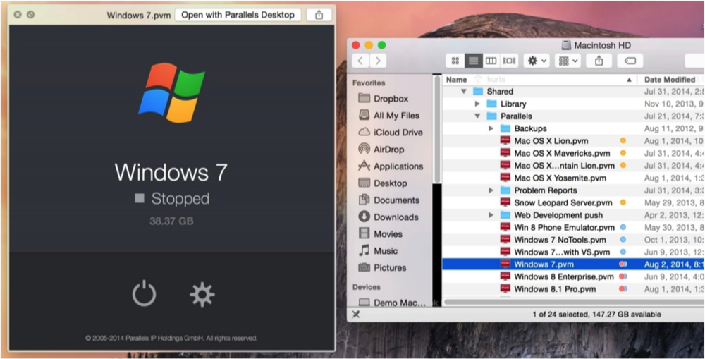 Figure 9: QuickLook extensions for Parallels Desktop virtual machines