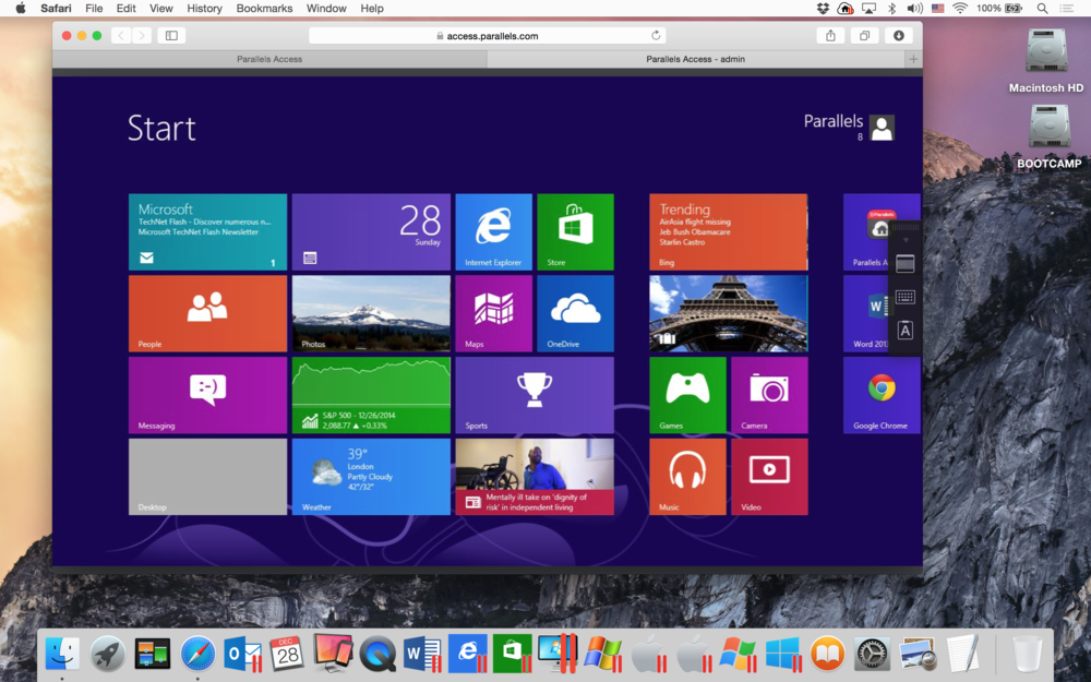 Figure 2:Connecting to Windows 8 PC from Yosemite.