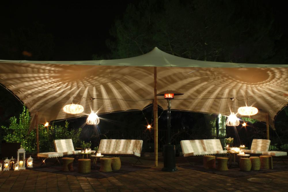 Alquiler de carpas para eventos de noche