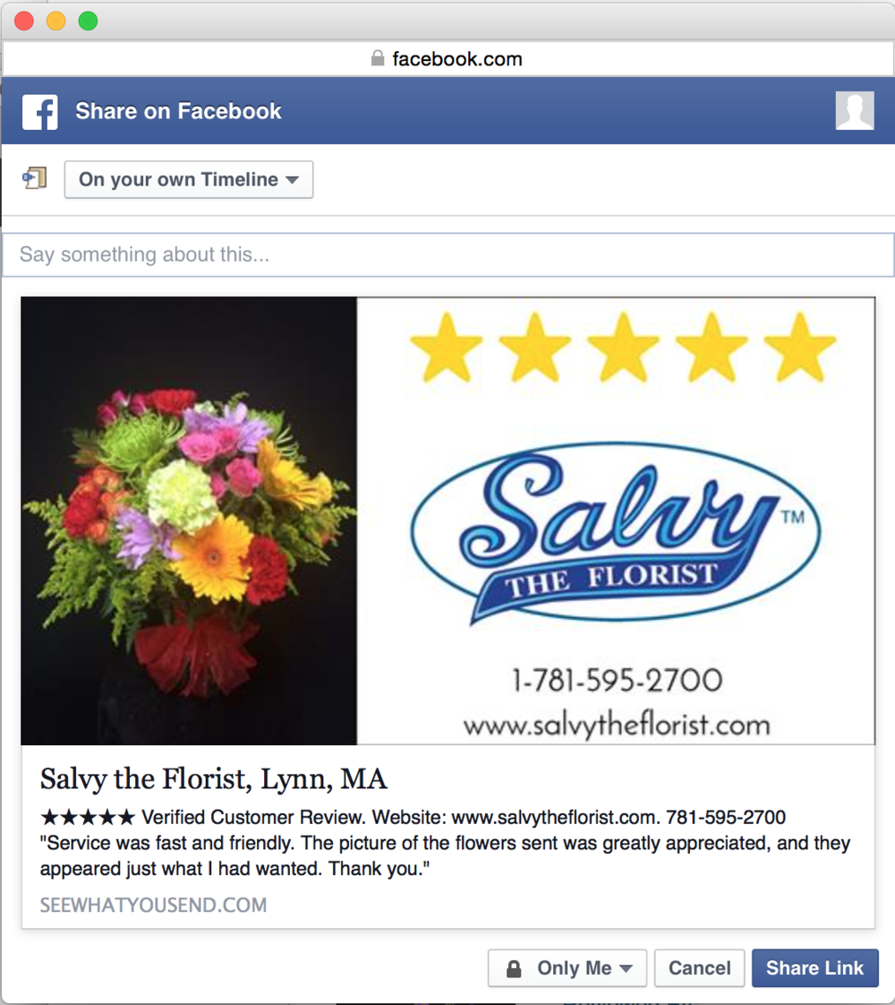 Blog see what you send facebook share api this is what a person sees prior to posting a shop review on facebook this feature is branded with the shop logo mightylinksfo