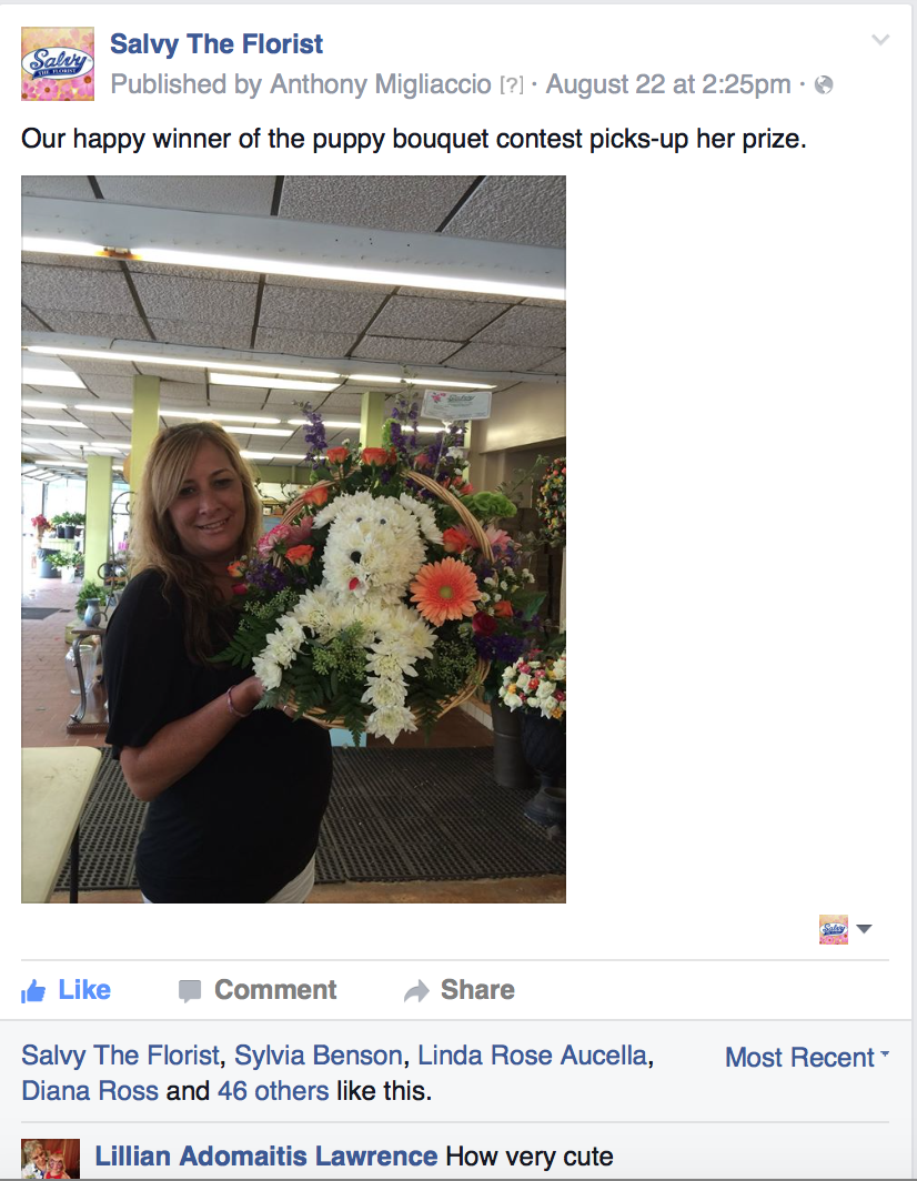 Blog see what you send salvy the florist asked the person who won the bouquet to come to the shop and receive their prize salvy the florist then posted to facebook mightylinksfo