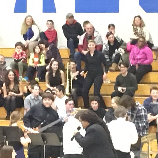 How we roll in Mashpee! My Sunshine Girl dancing in the stands, Morgan Peters of @thegroovalottos giving us the Funk with the Middle School Jazz Band, Morgan Peters Jr and Peter DiFranco (sp?) on the drums and finally, the High School Jazz Band rocking Sing Sing Sing at our ginormous Music in Our Schools concert tonight! It's great to be in Mashpee! #wegotthefunk #ourjazzbandsrock #musicinourschools #mashpeecapecod #capecodlife #mashpeehighschool #mashpeemiddleschool #studentmusicians