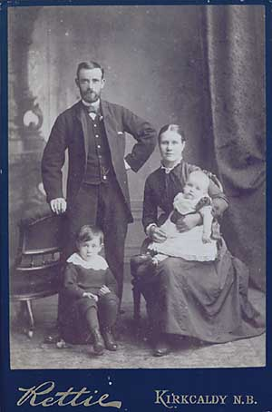 Family portrait from a photo album. Taken around 1870 by Robert Gibson Rettie of Kirkcaldy.