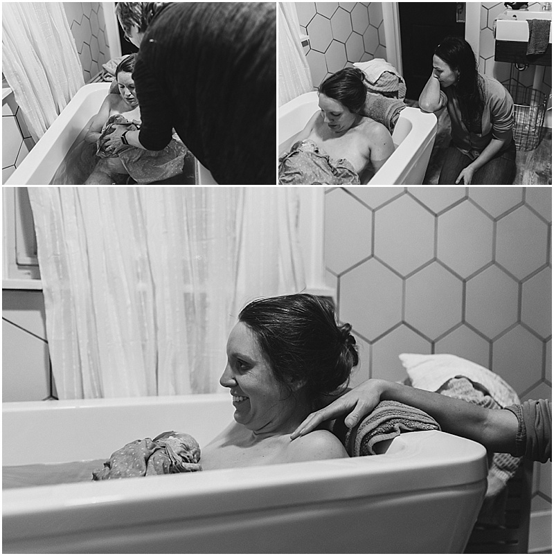 Madeline was born incredibly suddenly and smoothly in the bathtub and the only person in the room was their doula, Heather