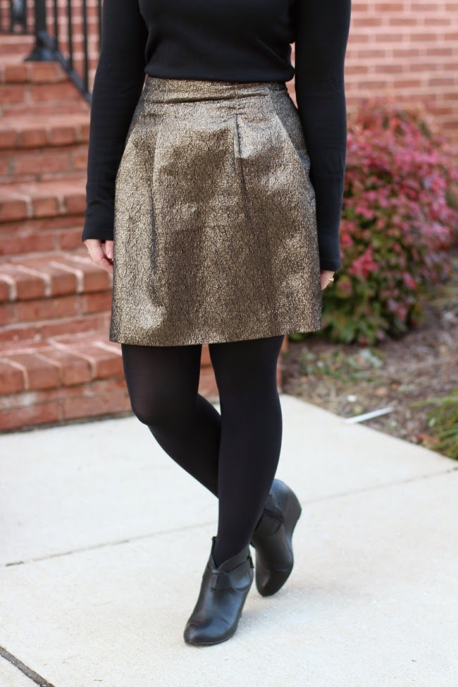Dana from Something Good, Le Tote, gold skirt