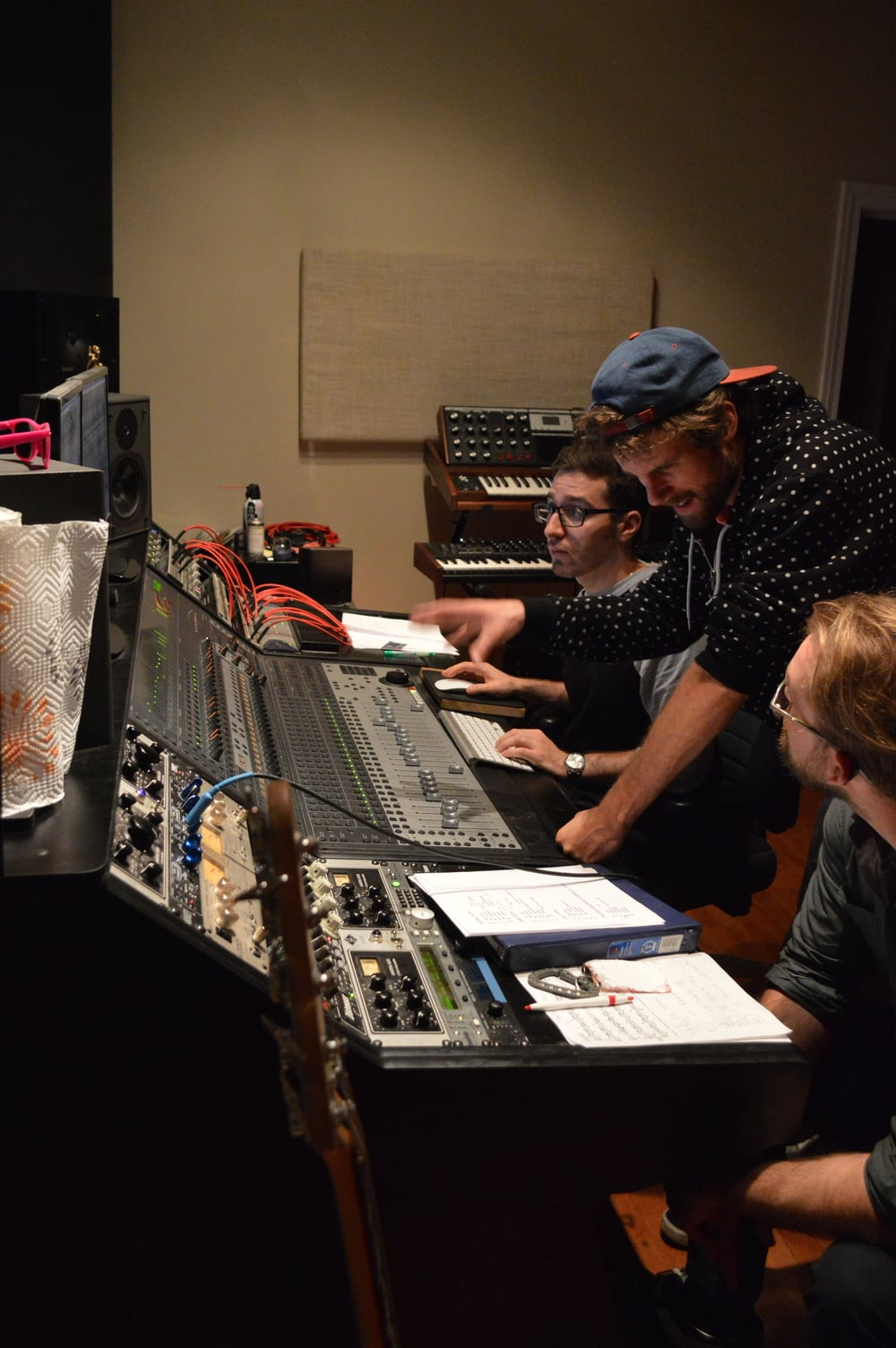 Doug, Ben, and G at the console recording the sophomore