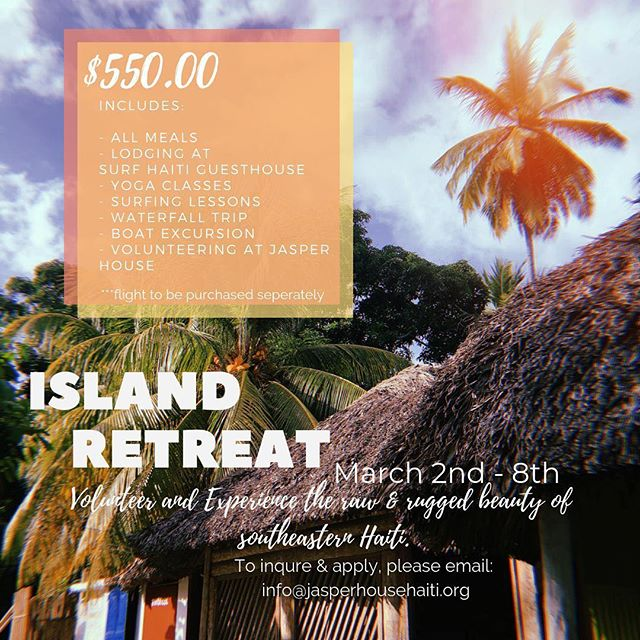 For those of you who have been asking for years about volunteering with @jasperhousehaiti, here's your chance!  This March I'm heading up the first ever island volunteer retreat which not only gives you the chance to experience life at Jasper House, give back and get involved, but also get to see the Haiti I love so dearly. Join me for yoga, surf lessons (not taught by me), hikes to one of the most breathtaking waterfalls and relaxing days on the beach after serving the women of Jasper House.  For SERIOUS inquiries please email: info@jasperhousehaiti.org  #jasperhousehaiti #riseandempower #haiti #ayiticheri #thisishaiti #islandretreat #yoga #volunteer