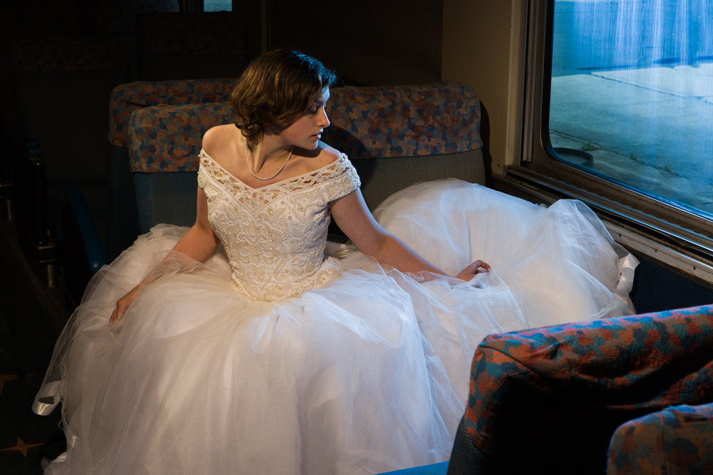 Bridal portrait in a vintage train at the Southern Railway Station in Knoxville, TN.