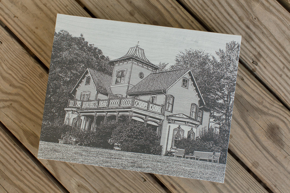 The Young Book is shown here in an 8x12 size with a maple texture cover and a custom imprint that depicts the Victorian manor where the wedding took place.
