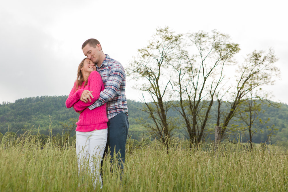 Post-proposal photoshoot in Cades Cove.
