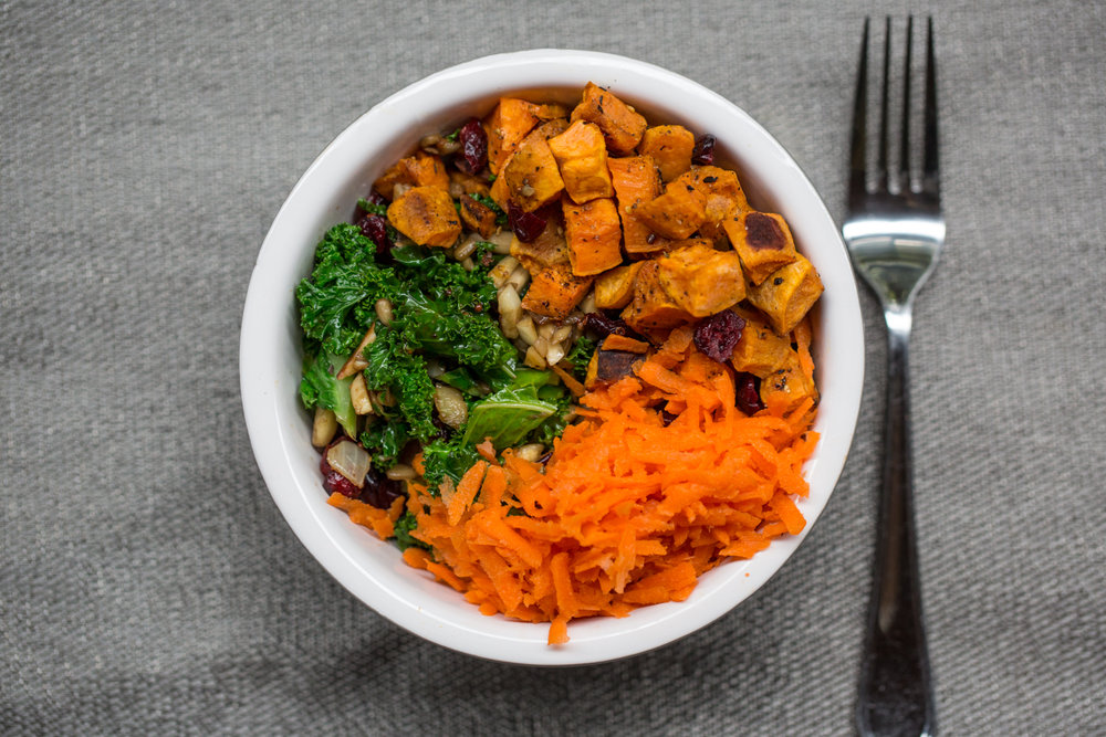 Kale Salad with yam carrot and cranberry -2018