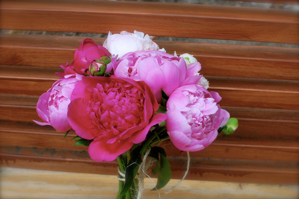 Hand-tied peony bouquet with twine