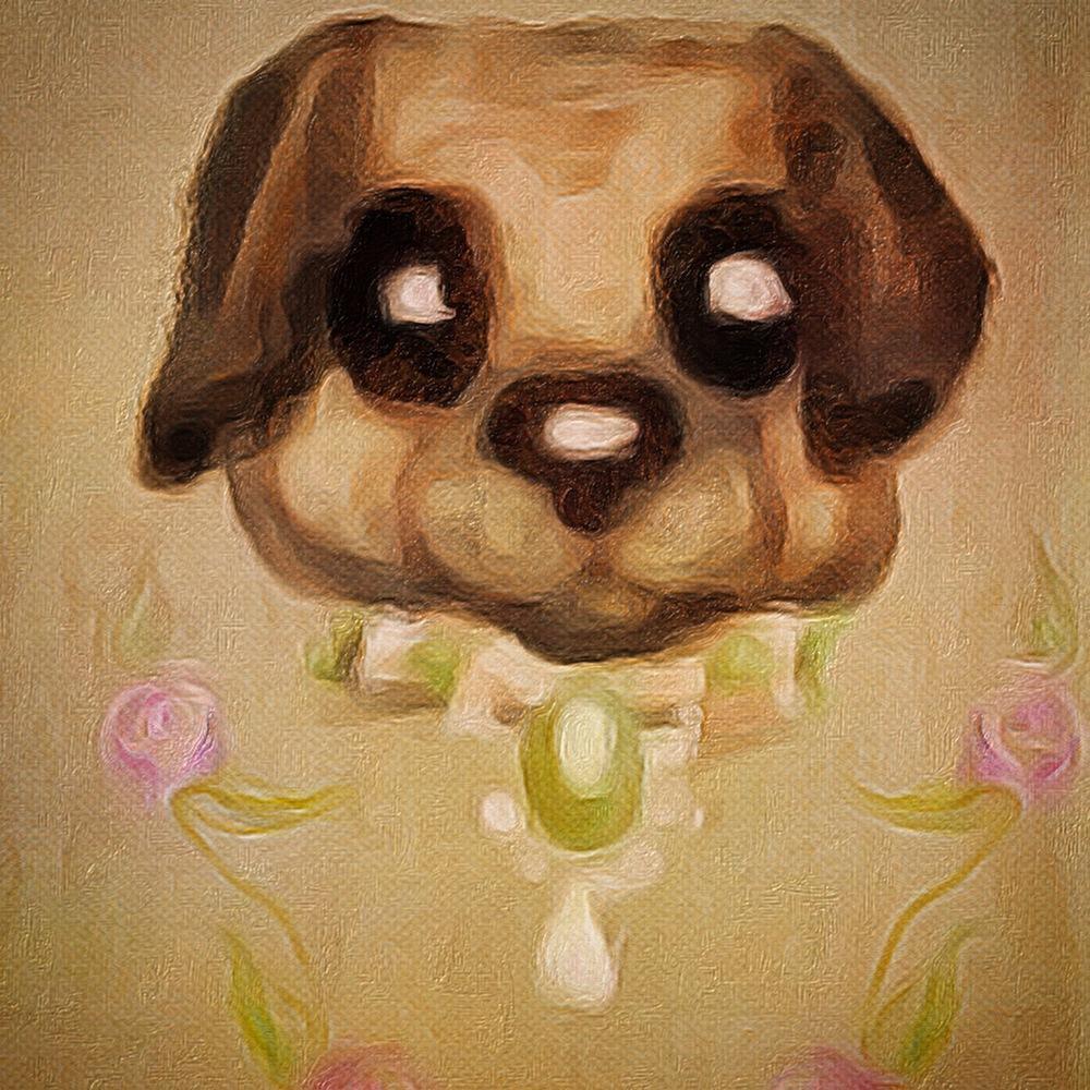 Pug illustration Marie Antoinette