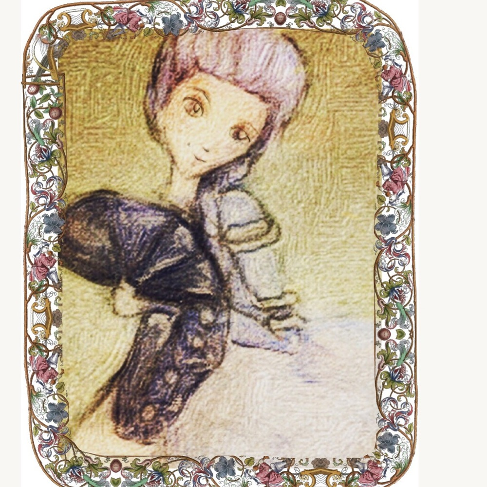 Marie Antoinette purple hair illustration