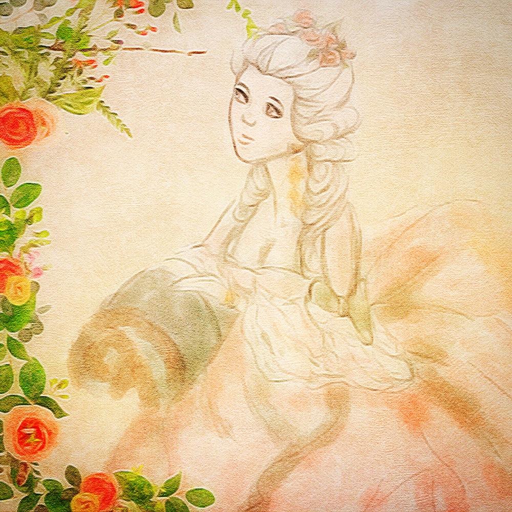 Marie Antoinette Roses Illustration