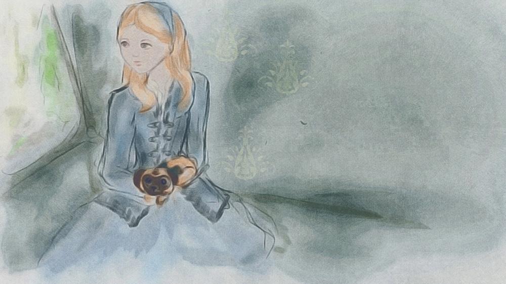 Marie Antoinette with Pug illustration