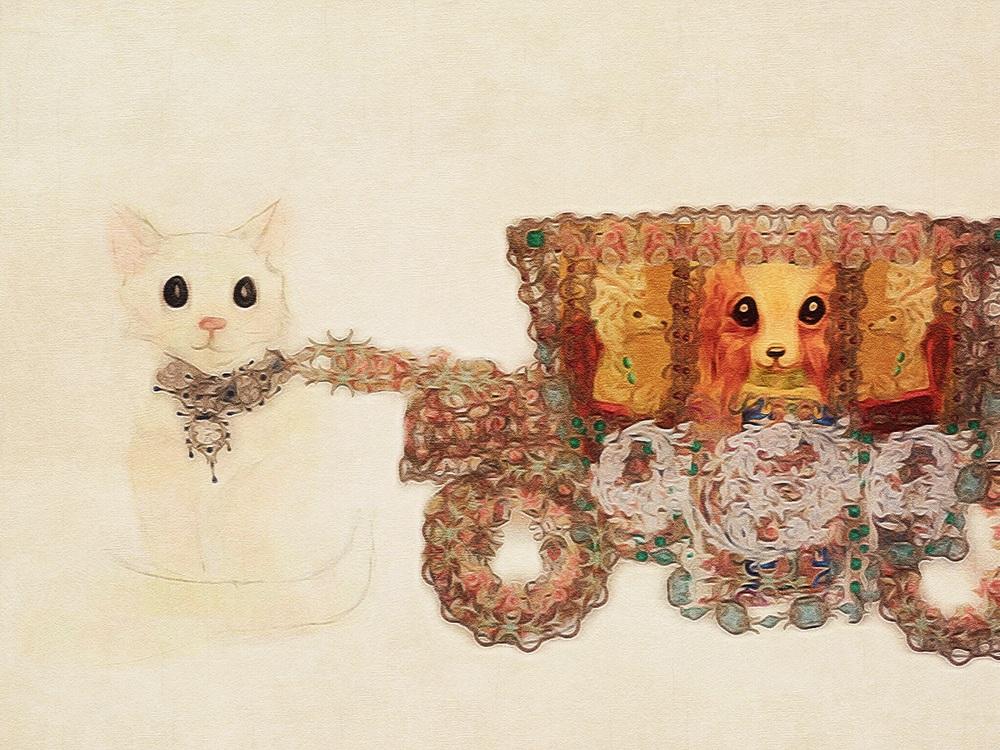 Cat pulling royal Versailles coach