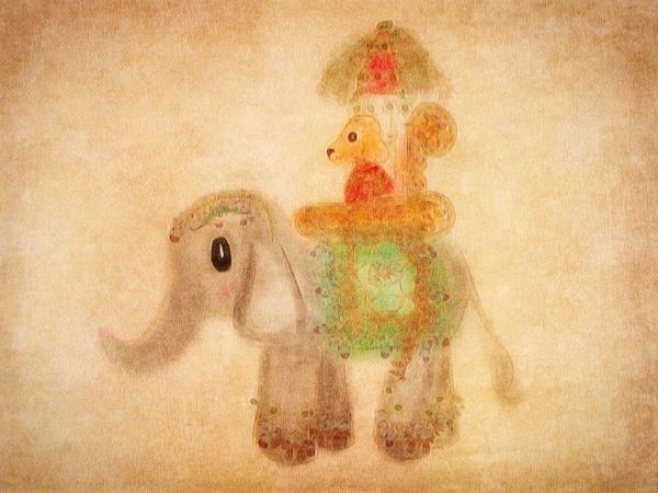 Indian Dog Illustration with Elephant