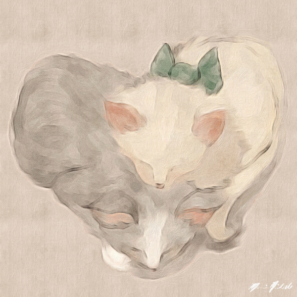 Pinterest obsession strikes again. A cute picture on pinterest inspires my kittens in a heart painting.