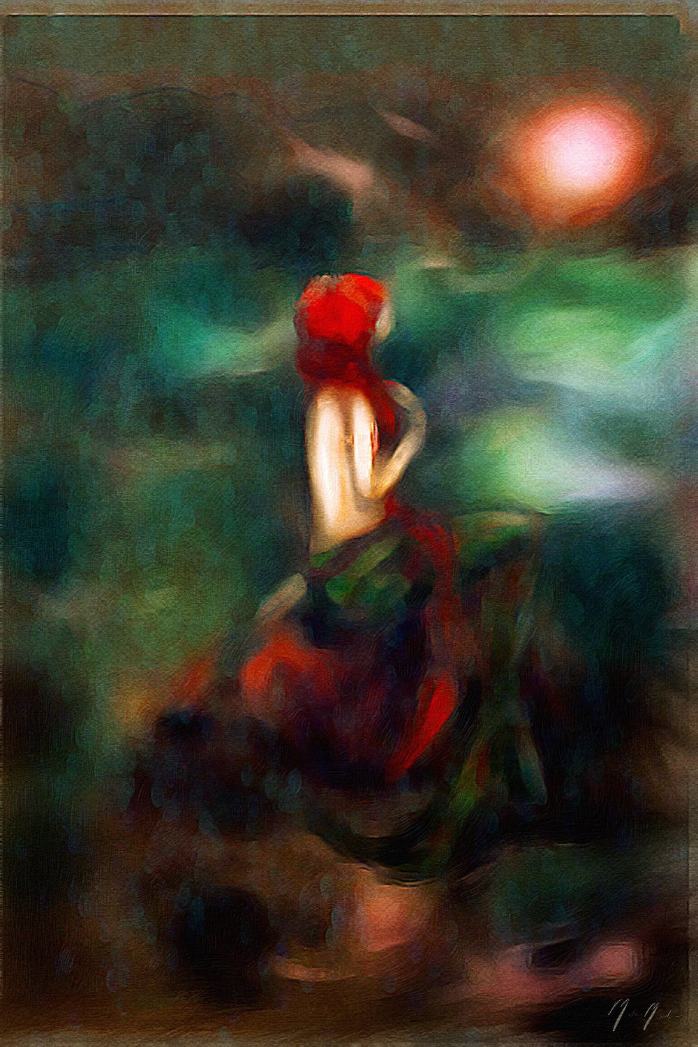 Mermaid watching the sun rise over the lake oil painting by Monica Michelle