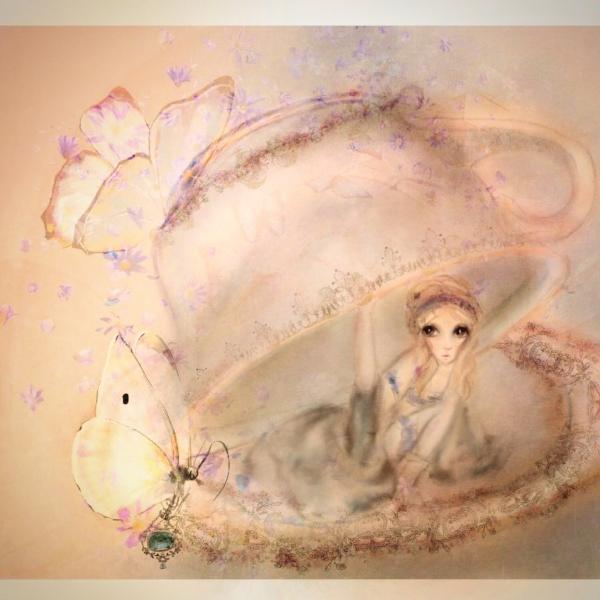 Alice in Wonderland tea cup illustration by children's book writer and artist Monica Michelle